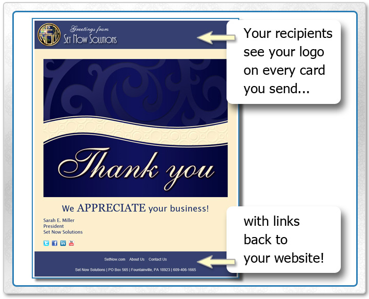 Recipients see your custom branding on all invitations, eCards and surveys you send and can easily visit your website.
