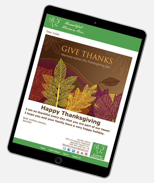 Thanksgiving eCard messages are easy to create with CorpNote.