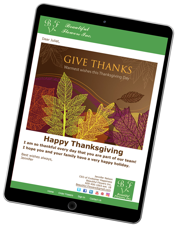Thanksgiving eCards are easy to create and customize with CorpNote.