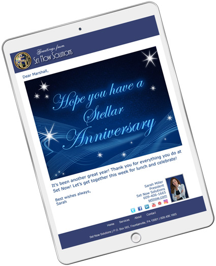 Customize the CorpNote website to match your company branding when sending anniversary eCards.