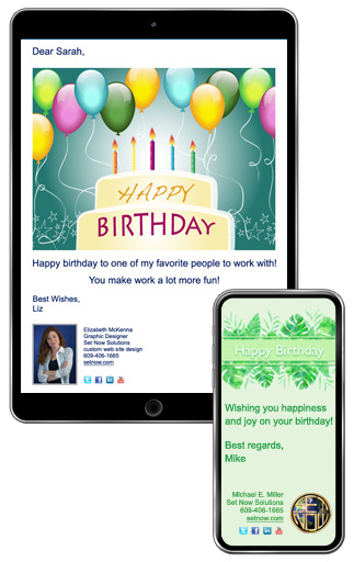 Example Birthday ECard With A Custom Logo And Signature On An IPad IPhone