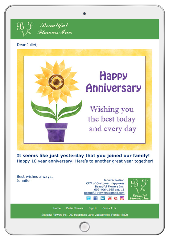 Anniversary and birthday eCards are great for employee recognition initiatives.