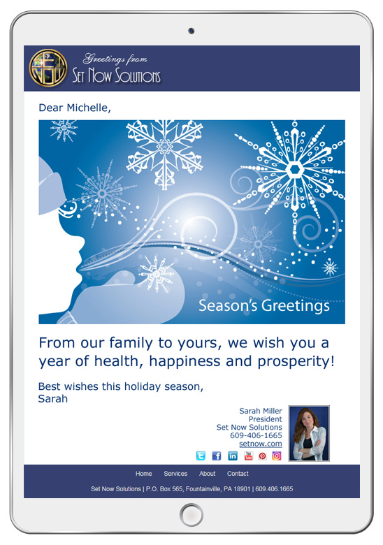 Holiday eCard campaigns can be customized with your logo and company colors.