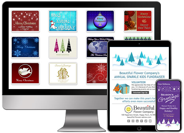 Sample holiday eCards and holiday email newsletter templates