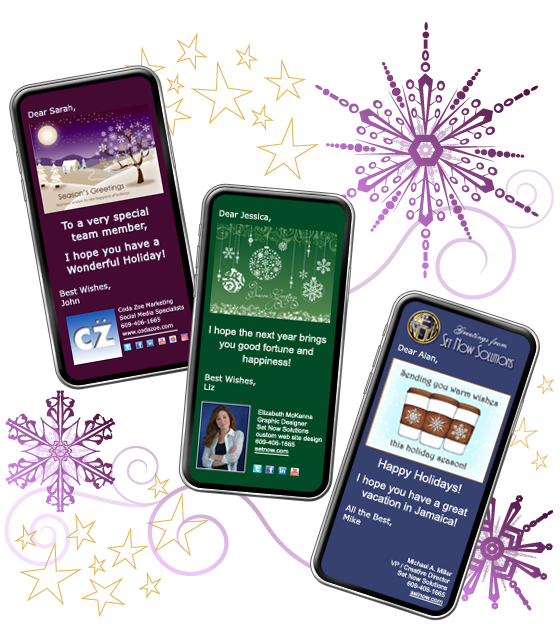 CorpNote's holiday eCards are fully customizable and mobile compatible.