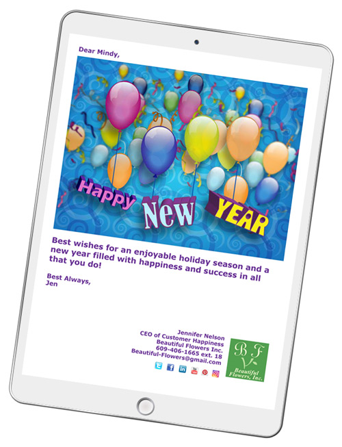 new years ecard messages are easy to create with corpnote