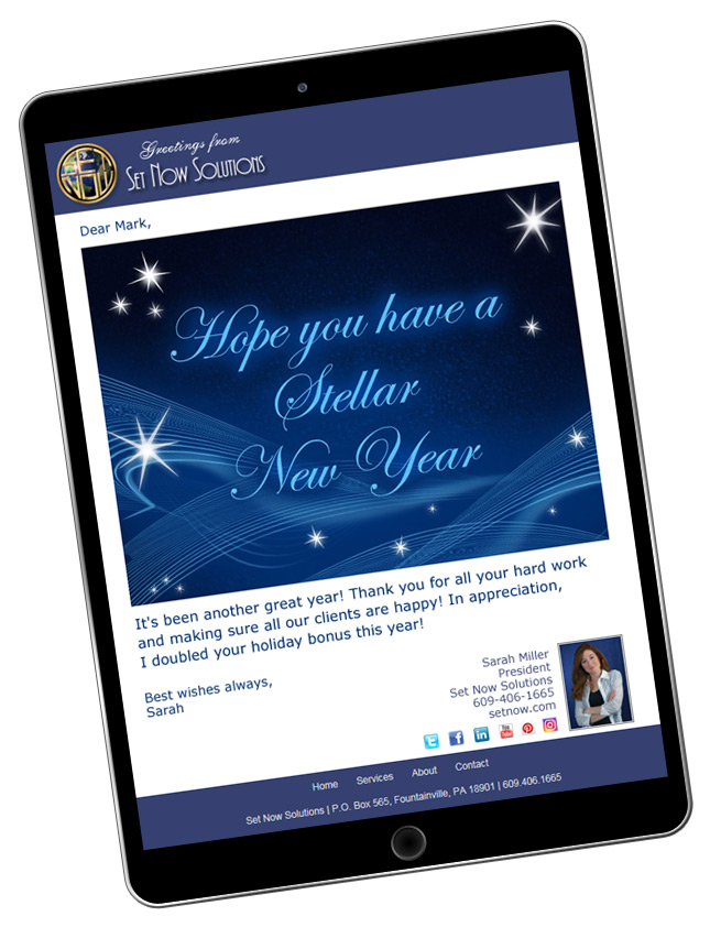 Customize our website to match your company branding when sending New Year's eCards.