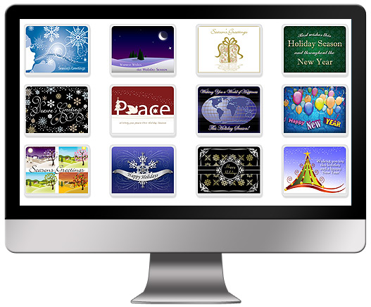 We offer a wide assortment of holiday eCard designs but you can also upload your own artwork or photos.