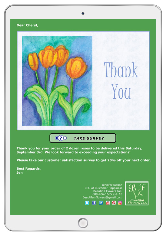 Thank you eCards can be combined with customer satisfaction surveys for a wide range of uses.
