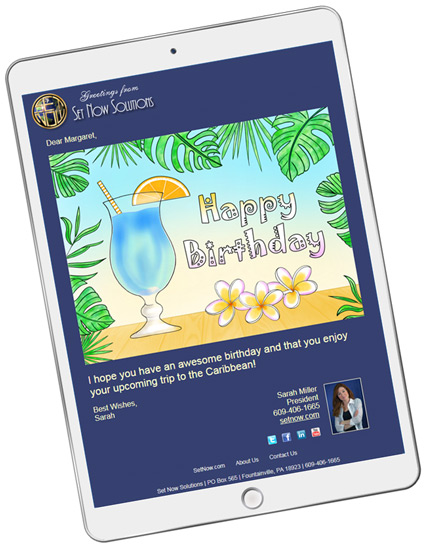 Customize our website to match your company branding when sending birthday eCards.