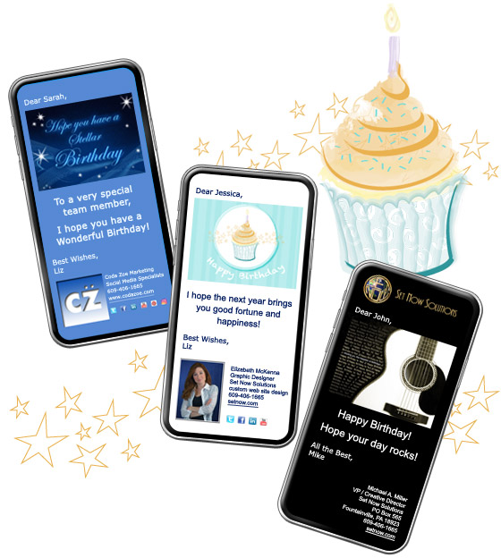 Use CorpNotes Birthday ECard Designs Or Upload Artwork Photos Of Your Own