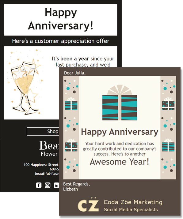 Anniversary eCards can be used in email marketing campaigns or for employee recognition.