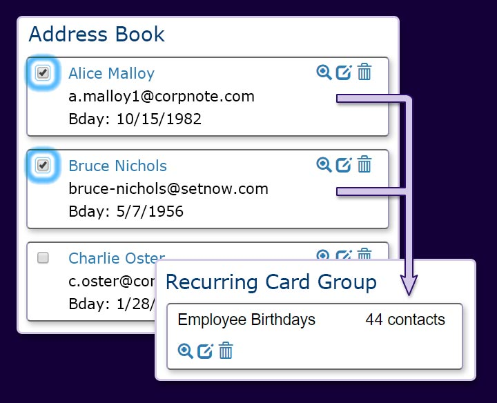 Up to 2,500 address book contacts can be added to email automation lists.