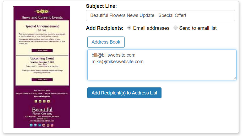 "Add your addresses, 1 per line, and click the ""Add Recipient(s) to Address List"" button"