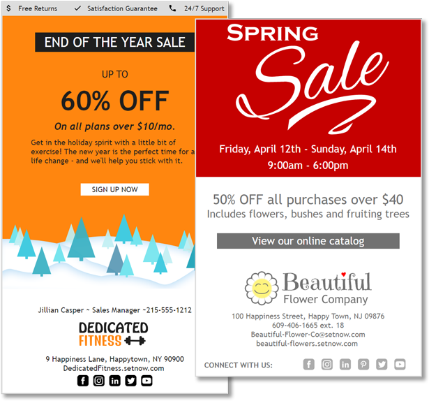 CorpNote offers email marketing campaign templates for sales and seasonal occasions.