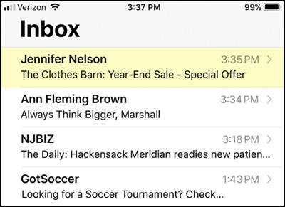 Example subject lines showing various examples on a mobile phone.