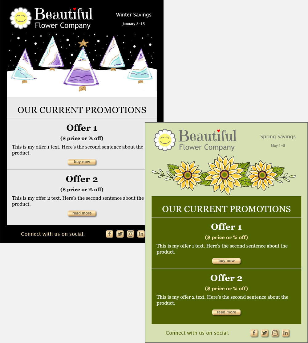 Customize email templates with your message, logo, images and colors