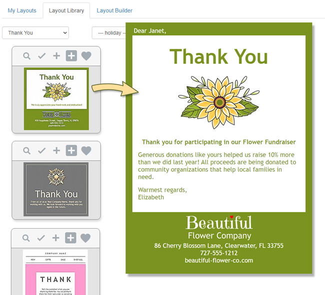 Use an email template to send a Thank You email in just a few minutes.