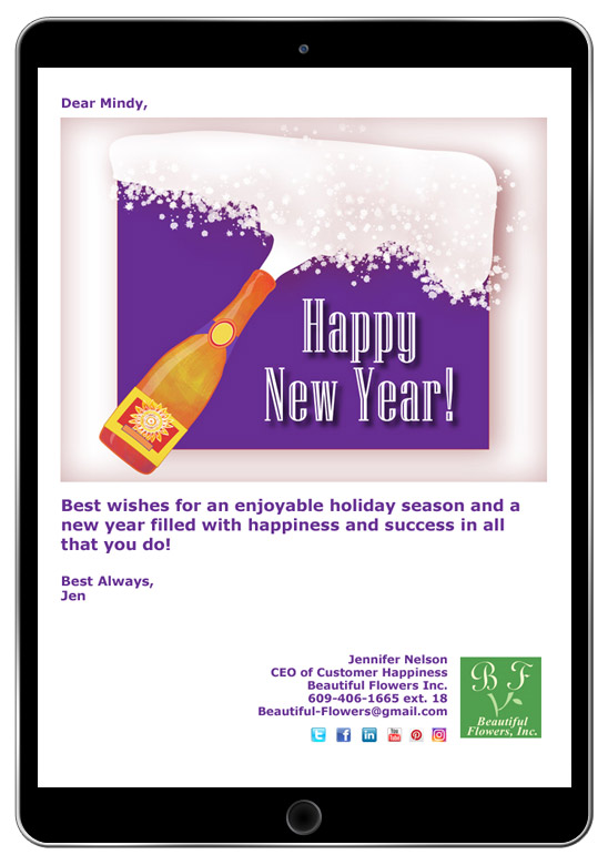 Holiday eCards like this Happy New Year messages are easy to create and customize with your contact information.