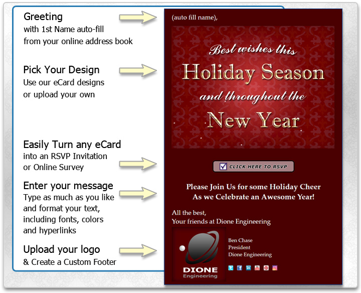 Add your holiday message to the eCard or invitation and add a custom signature that can include your logo.