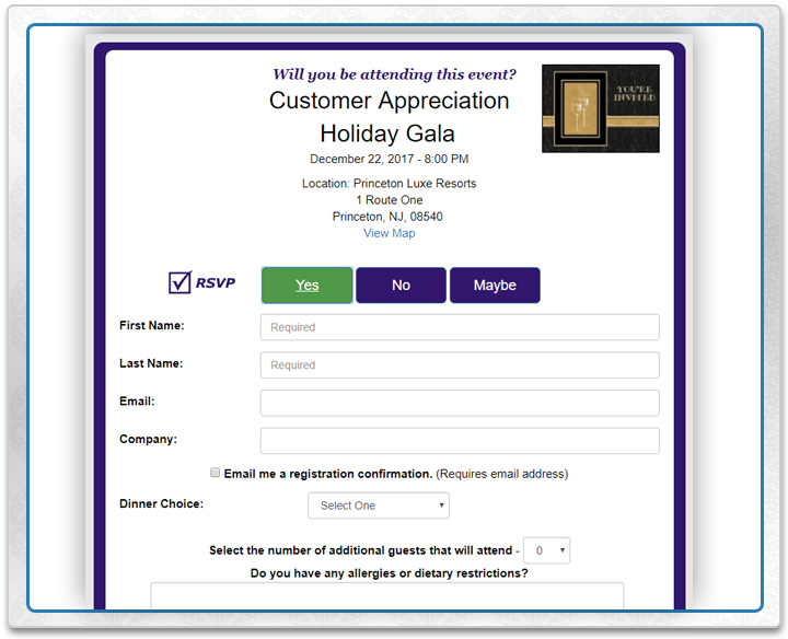 Create your event in the online invitation manager and customize the response options.