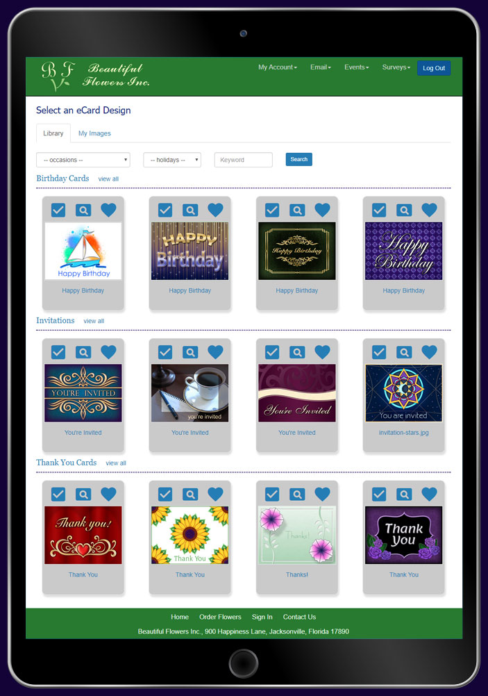 Choose an eCard design or upload your own greeting card art or company photo.