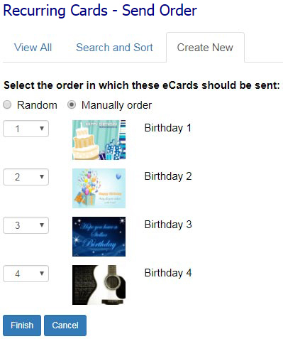 ECard Templates Will Be Sent Randomly To Your Recipients Unless You Select The Order