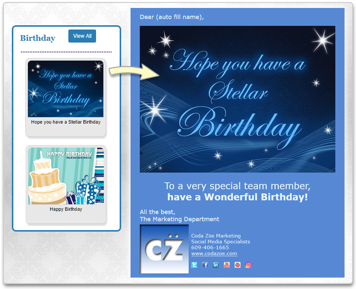 Choose from eCard templates that are made from our eCard designs or your own.