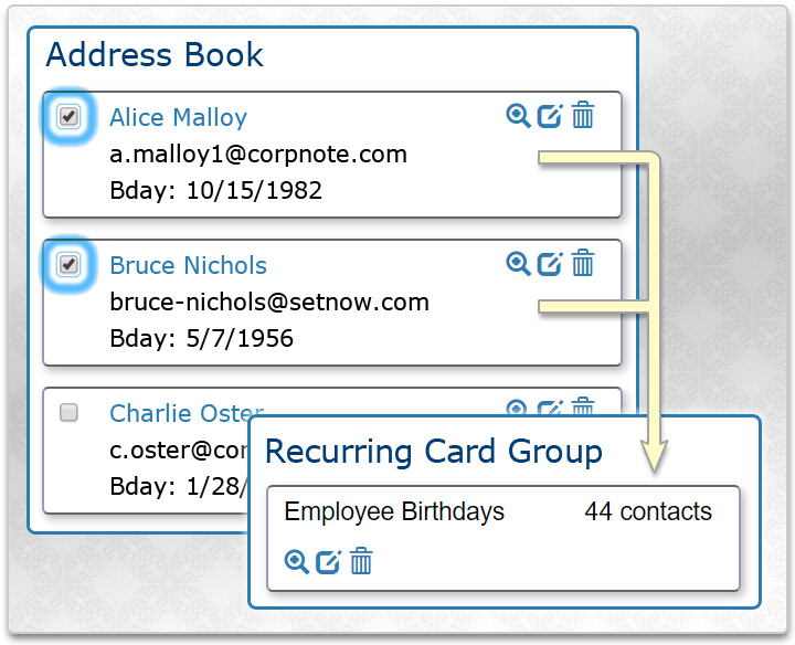 Select the contacts that should receive the recurring eCard.