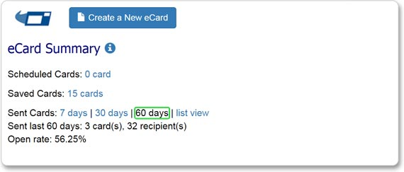 You can view eCard aggregate statistics for eCards sent in the past 7, 30 and 60 days.