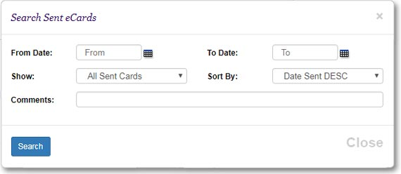 You can search sent eCards by date range and then download an aggregate report that contains eCard open rate stats.