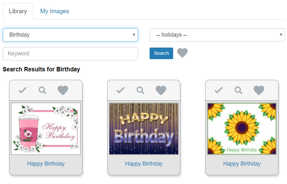 Browse eCard designs by searching on filters for birthday, season's greetings and more.