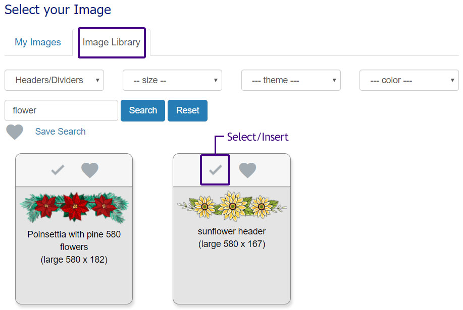 Corpnote's image library lets you search for images to include in your eCard message.