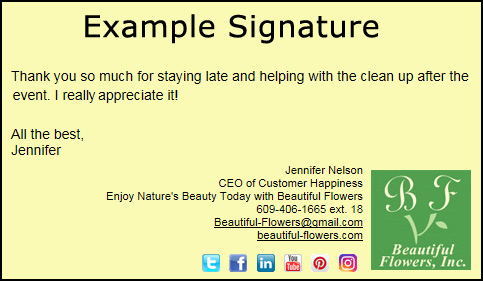 Example eCard signature options selected including website and social media links.