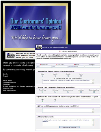 Customize any eCard to be an online survey and track your responses in real time with printable reports.