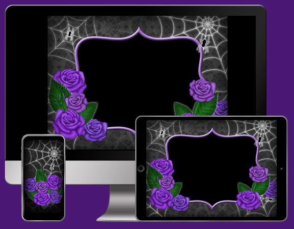 Download CorpNote's Gothic romance free wallpapers with purple roses.