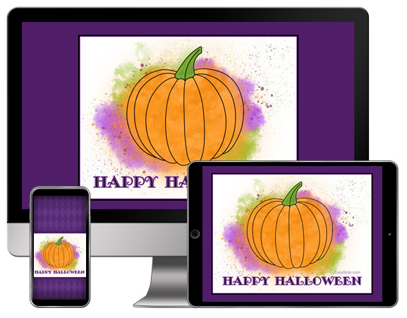 This Halloween free wallpaper features a watercolor pumpkin.