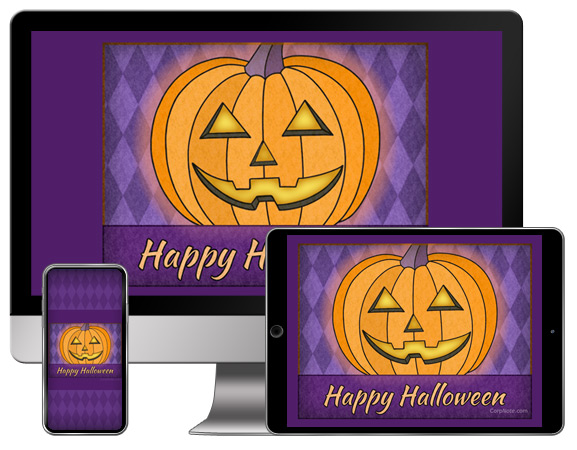 Download CorpNote's Halloween free wallpapers with a cheery pumpkin.
