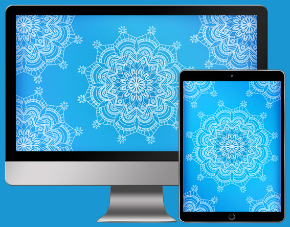 Download CorpNote's free wallpaper mandala in blue reflections.