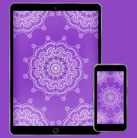 Download CorpNote's free wallpaper mandala in purple passion.