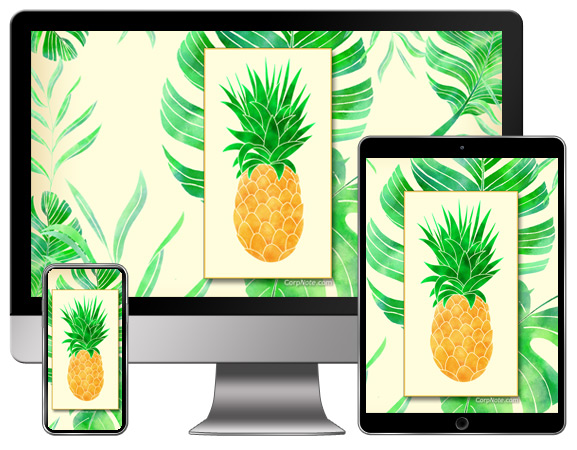 Download CorpNote's free wallpaper with pineapples and tropical leaves.