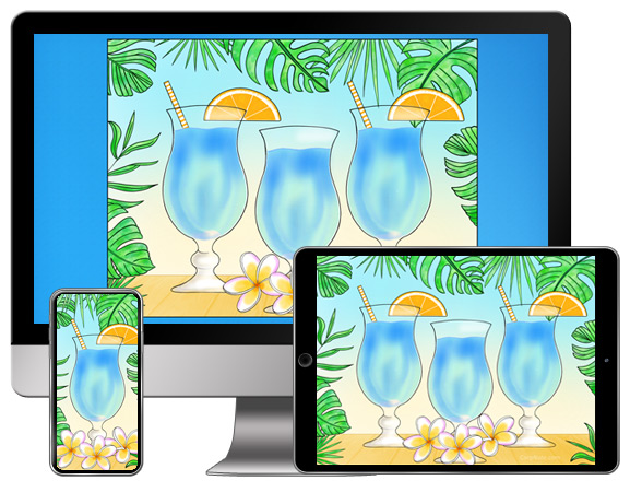 Download CorpNote's free wallpaper with tropical drinks and foliage.