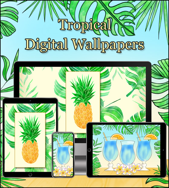 Download CorpNote's free wallpaper of tropical drinks and pineapples.
