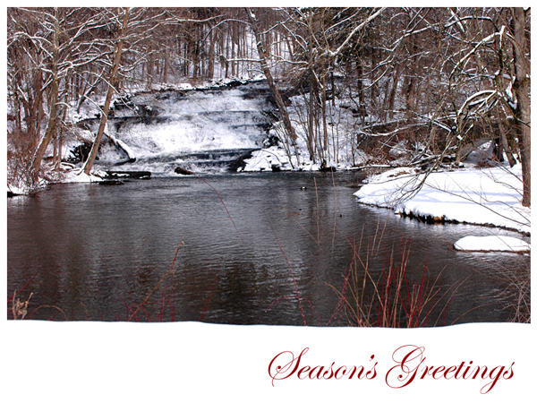 This holiday eCard features a photo of a waterfall and snow.