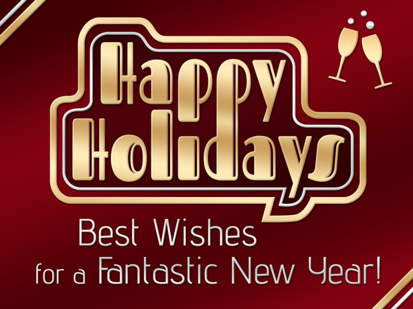 Art deco holiday eCard for business.