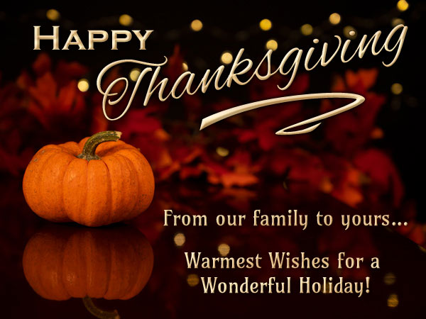 Photographic Thanksgiving holiday eCard with a pumpkin and lights.