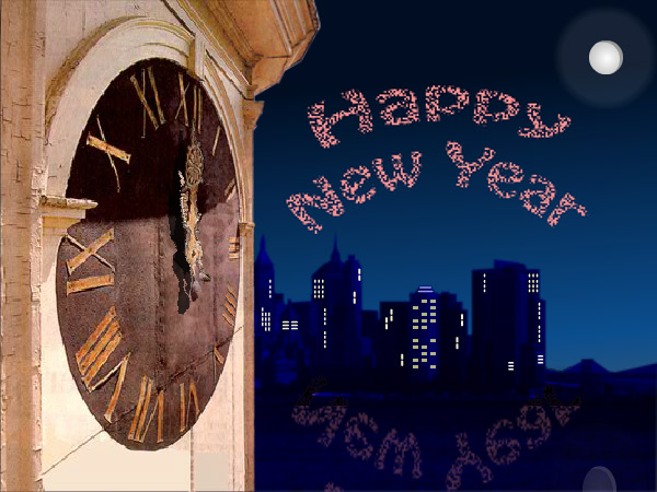 This New Year's eCard features a clock and the celebration of the New Year.