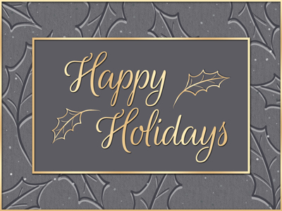 Traditional holiday greeting card designs get an electronic upgrade with the ability to share eCards via email, text and in social media.