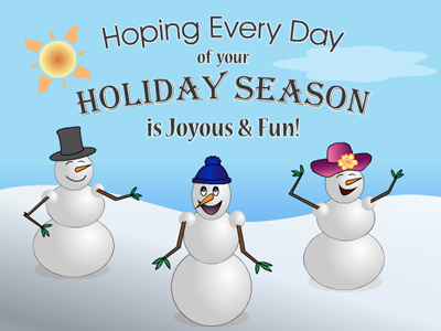 This whimsical holiday eCard features a family of snowmen.