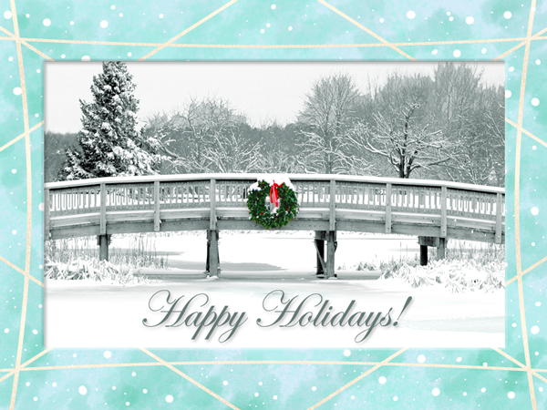 This holiday eCard features a photo of a snowy scene in Maine.
